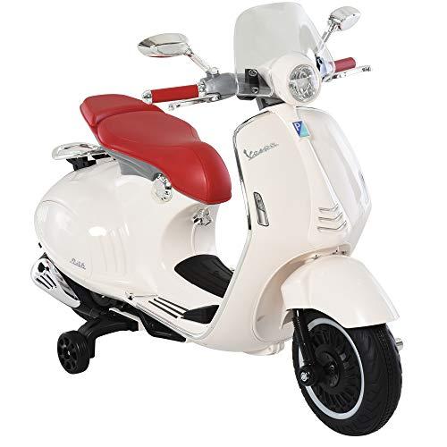 HOMCOM Elektrofahrzeug, Kinderfahrzeug, Kindermotorrad, Elektro-Motorrad mit MP3-Musik Beleuchtung, 3-6 Jahre, PP, Weiß, 108 x 49 x 75 cm