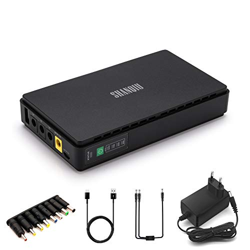 Gruppo di continuità Mini UPS per Router, Modem, Smartphone, Telecamera con Batteria 8800mAH Uscita 5V 2A USB e 5V 9V 12V 2A CC