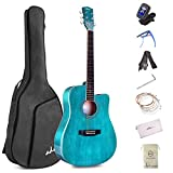 ADM Beginner Acoustic Guitar, 41 Inch Kids Students Cutaway Guitar Bundle Free Lessons with Gig Bag, Tuner, Strap, Picks, Extra Strings, Blue
