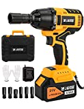 LAGATUNS 1/2 Cordless Impact Wrench Set,420 Ft-lb High Torque 3200 RPM,with a 21V 4.0Ah Li-Ion Battery, Fast Charger,6 Sockets, Suitable for family cars