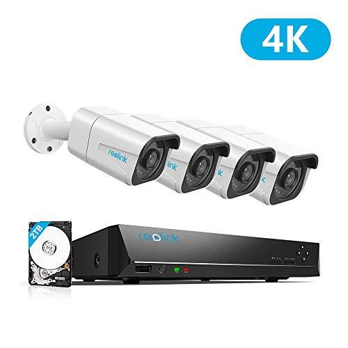 Reolink 8CH 4K Kit Videosorveglianza IP Poe, 8CH 4K Poe NVR con 4X4K Ultra HD IP Poe Telecamera Esterno Impermeabile, Sistema di Sorveglianza con HDD da 2TB, Registrazione 24/7, RLK8-800B4