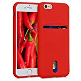 kwmobile Case for Apple iPhone 6 / 6S - Rubberized TPU Phone Cover with Card Holder and Rubber Finish - Red