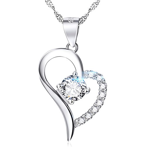 YFN White Gold Plated Heart Necklace Sterling Silver Love Promise Jewelry for Women Wife Girlfriend Daughter Aunt Valentine Gifts for Her (White)
