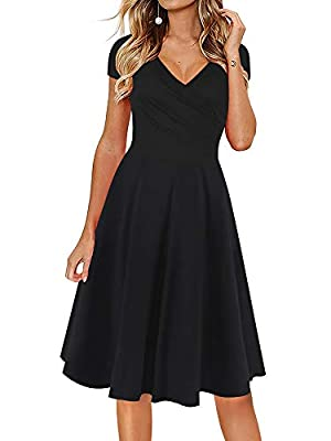 Material:65% Cotton + 35% Polyester. Note:Hand-wash and Machine washable, Dry Clean.The material is soft, fits perfectly.You can wear a normal bra with this dress.It is very flattering.Design:V-Neck.It have zip in side,cap sleeve.The fabric has elast...
