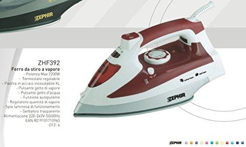 FERRO DA STIRO 2200W Zephir termostato regolabile piastra inox autopulente getto vapore e getto...