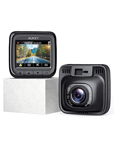 AUKEY Dash Cam Full HD 1080P Telecamera per Auto con Obiettivo Grandangolare di 170°, Super Condensatore, WDR Visione Notturna Dashcam con Registrazione in Loop, G-Sensor