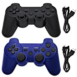 Ceozon PS3 Controller Wireless Playstation 3 Controller Wireless Bluetooth for Sony Playstation 3 Remote Joystick PS3 Remote Controller with Charging Cables 2 Pack Black + Blue