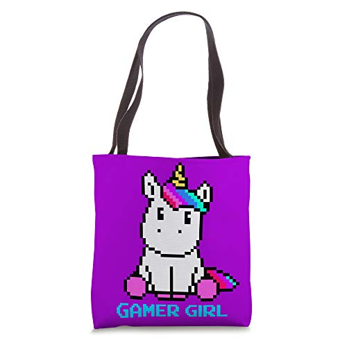 Cute Unicorn Gaming Video Games Cool Gamer Girl Gift Purple Tote Bag