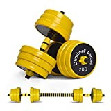 Nice C Adjustable Dumbbell Barbell Weight Pair, Free Weights 2-in-1 Set, Non-Slip Neoprene Hand, All-Purpose, Home, Gym, Office(Barbell 66lb or Dumbbell 33lb Set)