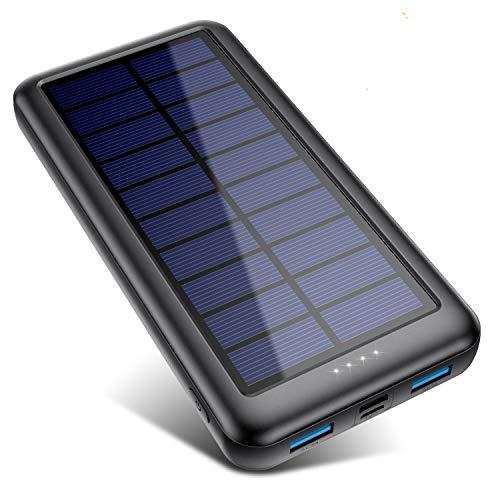 QTshine Cargador Solar con Entradas Tipo C & Mirco USB, Batería...