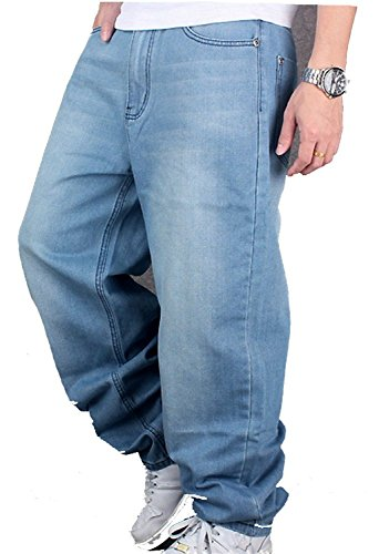 CYSTYLE Herren Jeanshose Baggy Jeans Denim Straight Leg Loose Fit in...