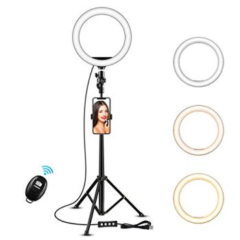 """8"""" Selfie Ring Light with 50"""" Extendable Tripod Stand & Flexible Phone Holder for Live Stream/Makeup, KOYOT Mini Desktop Led Camera Ringlight for YouTube Video, Compatible with iPhone/Android"""