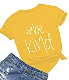 Be Kind T Shirts Women Cute Graphic Blessed Shirt Funny Inspirational Teacher Fall Tees Tops (XXL,Yellow01)