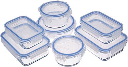 AmazonBasics - Recipientes de cristal para alimentos, con cierre 14 piezas (7 envases + 7...