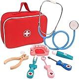 AULLY PARK Maletín de médico para niños, de madera, para doctores, juego de rol, 8 unidades