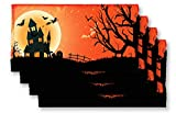 GRANITE MOUNTAIN PRODUCTS Halloween Kitchen Placemats Set of 4 - Halloween Decor Place Mat Set for Dining Room and Kitchen Tables
