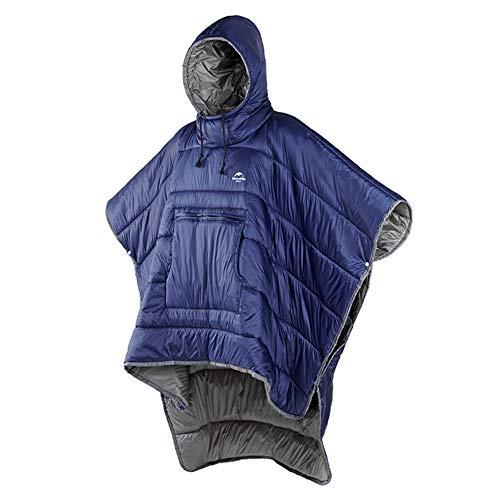 Tentock Poncho Invernale Multifunzionale per Adulti - Unico Mantello Caldo per Viaggi Spiaggia(Blu)