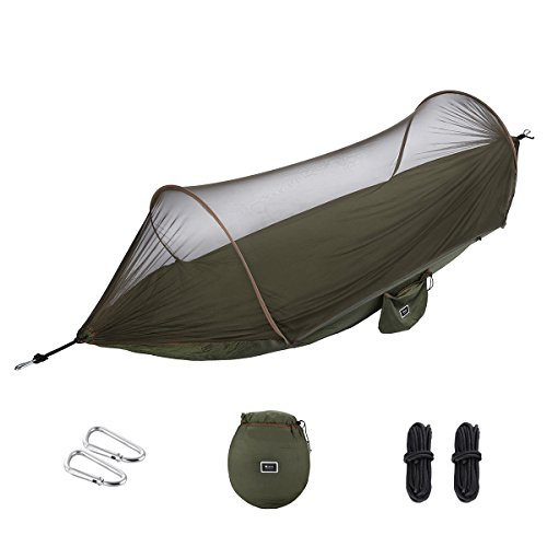 isYoung Hammock with Mosquito Net Parachute Fabric Hammock Net, Durable and Portable, Suit for 2 Persons, Tree Tent, Outdoors (Army Green)