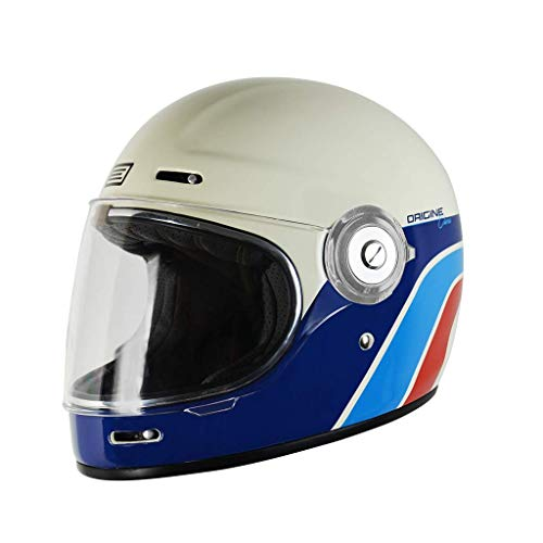 Origine Vega - Casco integral de fibra de vidrio, estilo Café Racer, vintage XL Classic White