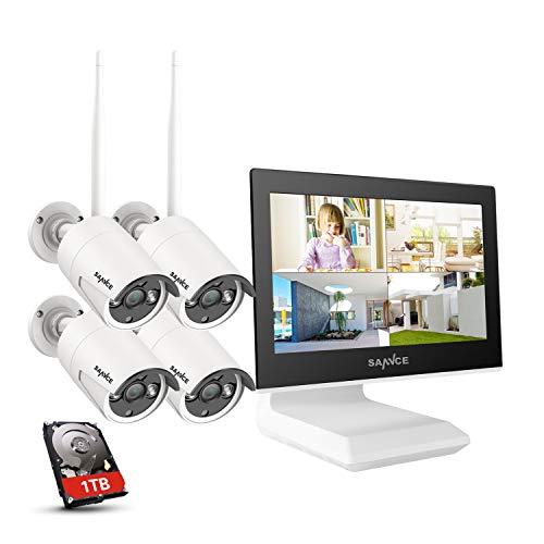 SANNCE Kit Videosorveglianza WiFi 1080P 4CH NVR con 10,1' monitor 1TB Disco Rigido Installato 4 Wireless Telecamere di Sorveglianza 1080P Eseterno Visione Notturna 100 piedi IP66-1TB HDD
