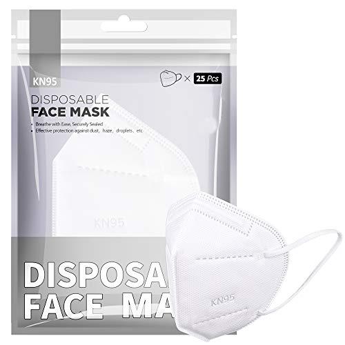F FiGoal [20 Pezzi] Monouso 5 Maschere Di Livello, Maschere Di Sicurezza Filtrazione La Faccia Antipolvere Earloop Respirabile Bocca Maschera, Maschera Confortevole Bianco