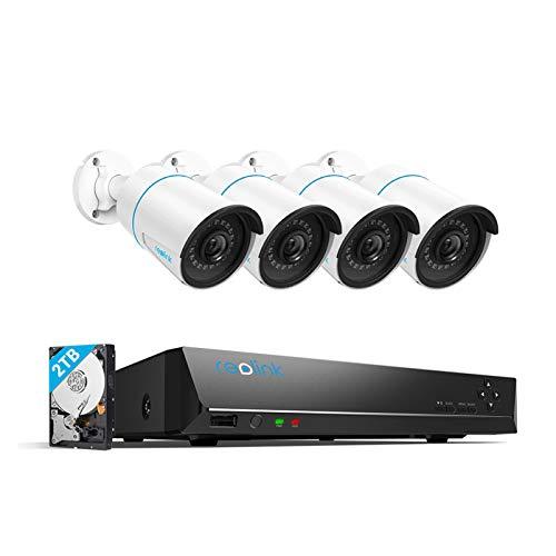 Reolink 8CH 5MP Kit Videosorveglianza IP PoE, Sistema di Sorveglianza con Rilevamento Intelligente di Persone/Veicoli, 4K 2TB HDD NVR con 4X5MP Telecamera PoE Esterno, Registrazione 24/7, RLK8-510B4-A