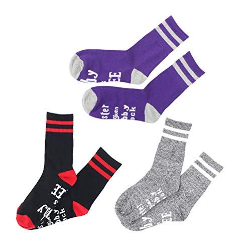 CLISPEED 3PCS Funny Crew Socks Unisex novit Calze Dobby  Libero Maglia Parole Sport Calze per Le Donne degli Uomini (Viola, Grigio e Nero Rosso)