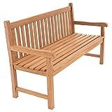 Divero 3-Sitzer Bank Holzbank Gartenbank Sitzbank zertifiziertes Teak-Holz behandelt hochwertig massiv