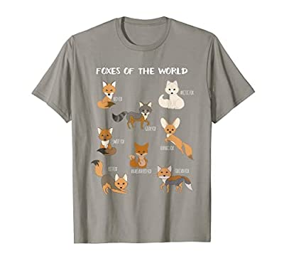 This is an awesome tee shirt that expresses love for foxes around the world. An educational display of foxes. Features a red fox, an arctic fox, a gray fox, a fennec fox and many more! Makes a great novelty gift idea for fox lovers and enthusiasts. P...