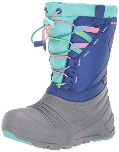 Merrell Kids' Unisex M-Snow Quest Lite 2.0 Wtrpf Snow Boot, Grey/Blue/Turq, 04.0 M US Big Kid