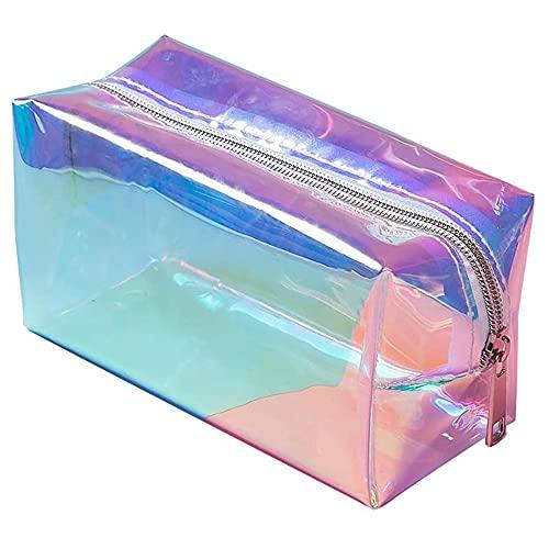 Trousse olografica da donna trasparente, Cosmetica da Viaggio Astuccio per Trucchi Colorato Trasparente per trucco portatile per vacanze viaggi bagno