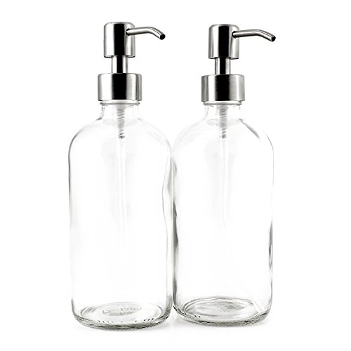 16-Ounce Clear Glass Boston Round Bottles w/Stainless Steel Pumps (2 Pack), Soap Dispenser Great for Essential Oils, Lotions, Liquid Soaps