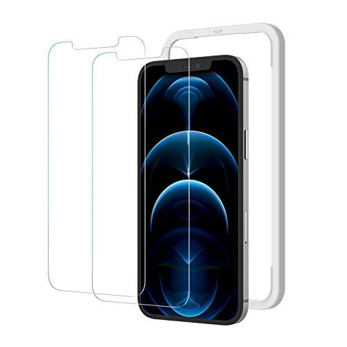 2枚セット NIMASO ガラスフィルム iPhone 12 pro max 用 強化ガラス 液晶保護フィルム ガイド枠付き