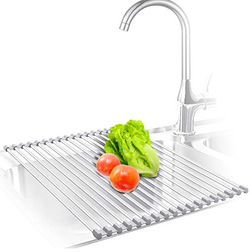 KIBEE Dish Drying Rack Stainless Steel Roll Up Over The Sink Drainer Gadget Tool for Many Kitchen Task(Gray,Large)