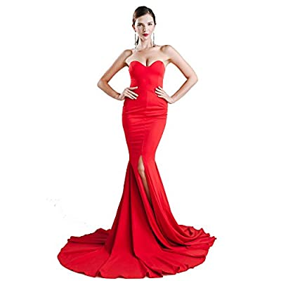 ✔Style: Sleeveless sexy wrapped chest asymmetric slit front maxi dress floor length party dress ✔Fabric: Soft and stretchy,For a good drape , this style use 2 slightly different fabric. ✔Features: Off Shoulder, Unique High Split, Asymmetry Hem, Backl...