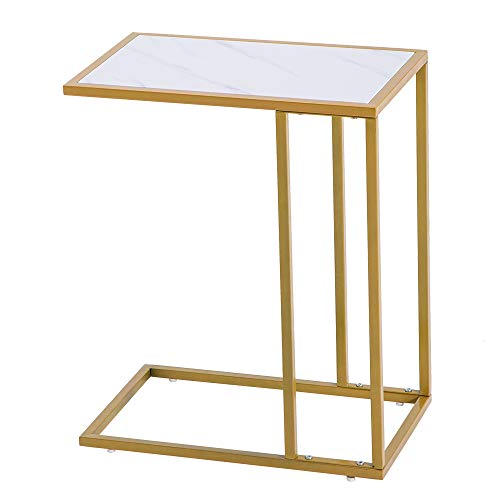 Henf White and Gold Sofa Side Snack Table Portable TV Tray Tables with Elegant Faux Marble Top C-Shape Couch Bed Side Coffee End Table Dinner Tray Table for Living Room Bedroom