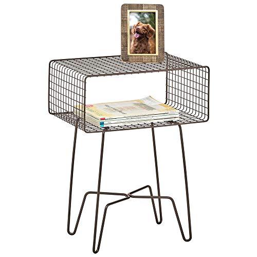 mDesign Cassettiera vintage in stile industrial Tavolino consolle in metallo Mobiletto da ingresso, soggiorno e camera da letto con gambe a forcina bronzo
