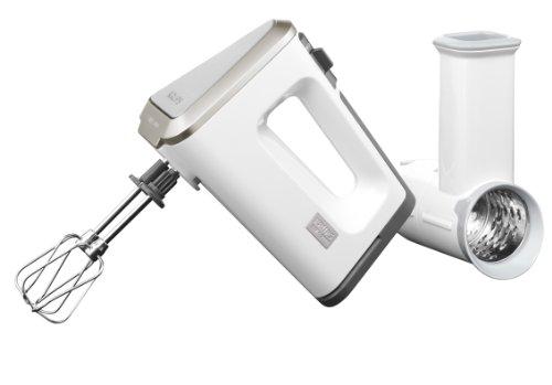 Krups GN 9071 Handmixer 3 Mix 9000 Set (500 Watt, mit Turbostufe) Schnitzelwerk, Rührschüssel, Rührbecher, Schnellmixstab, weiß /grau
