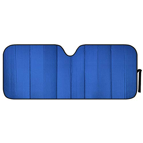 Motor Trend Front Windshield Sun Shade - Jumbo Accordion Folding Auto Sunshade for Car Truck SUV - Blocks UV Rays Sun Visor Protector - Keeps Your Vehicle Cool - 66 x 27 Inch (Blue)