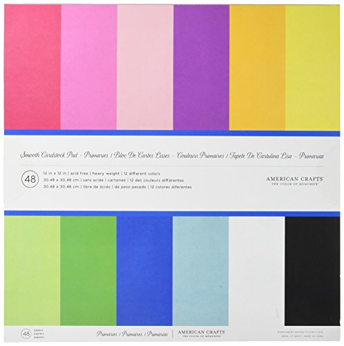 12 x 12-inch AC Cardstock Pad by American Crafts | Includes 48 sheets of heavy weight, smooth cardstock in various primary colors