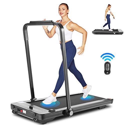 fioleken 2 in 1 Under Desk Treadmill for Home,2.25HP Electric Folding Treadmill with Bluetooth Speaker Remote Control & 12 Preset Modes,Installation-Free 1