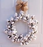 YOUNICER 14 Pulgadas Corona de Navidad Vintage casa de Campo Corona de algodón esponjosa Blanca...
