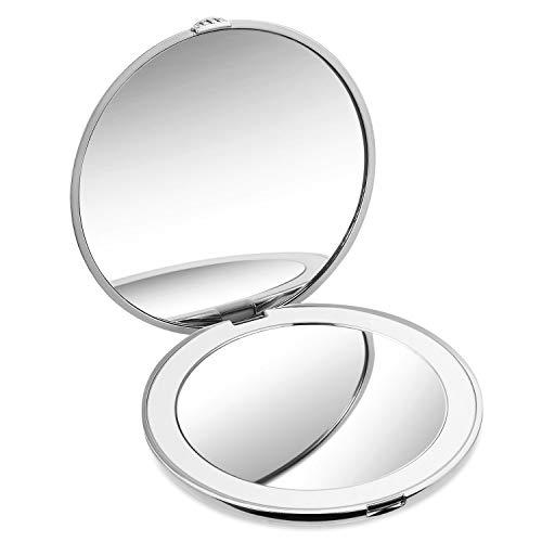 Tragbarer Spiegel, HAMSWAN Handspiegel mit Licht und 10-facher Vergrößerung, Handtaschenspiegel für Geschenke und einfaches Tragen