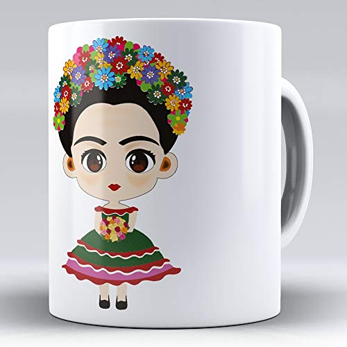 April Taza cerámica Desayuno Regalo Original Frida Kahlo ilustración Flores