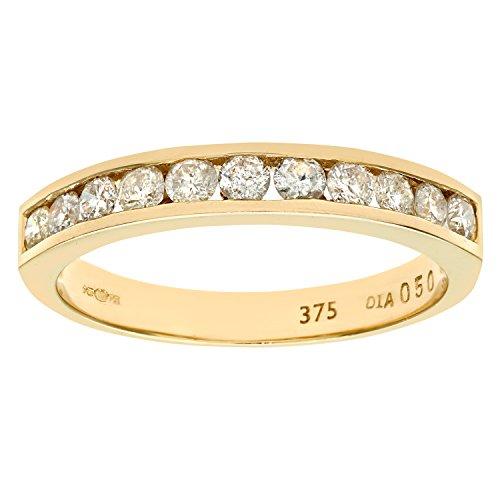 Naava Anillo para Mujer de Oro Amarillo 9K con 11 Diamantes talla 19