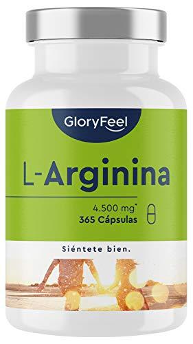 L-Arginina - 365 cápsulas veganas - 4500mg de L-Arginina HC