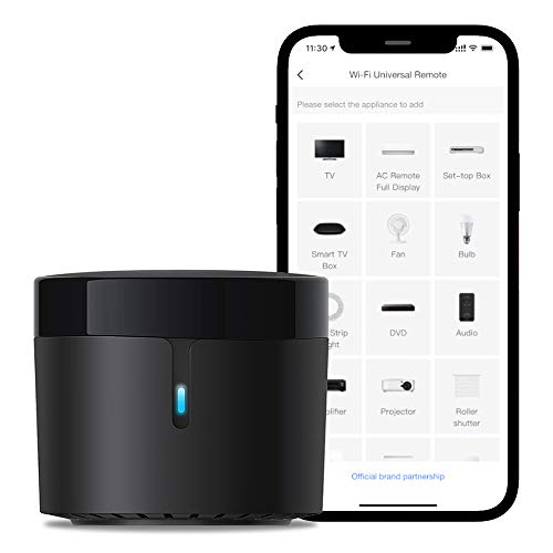 BroadLink RM4 Mini IR Universal Remote Control, Smart Home Automation Wi-Fi Infrared Blaster for TV Air Conditioner STB Audio, Works with Alexa, Google Home, IFTTT