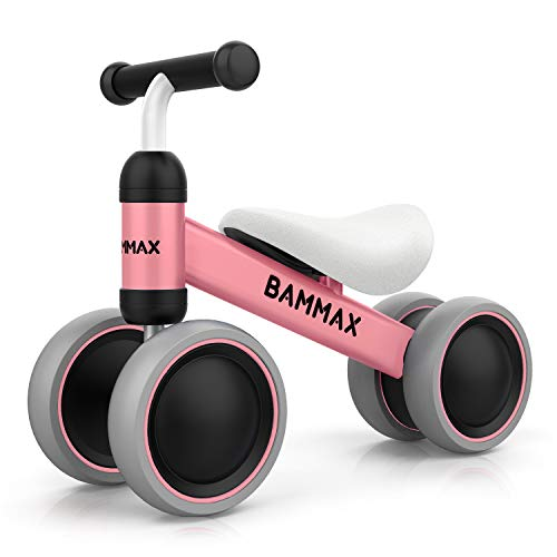 Bammax Bicicletta Senza Pedali, Bicicletta Equilibrio per Bambini 1-2 Anni, Triciclo Bambini, Prima Bici Senza Pedali, 49*19*35cm, Rosa