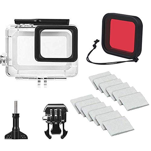 Linghuang Custodia Subacquee Impermeabile 45M con Rosso Filtro Accessori Protettivi per GoPro Hero 7 (Silver) / Hero7 (White)