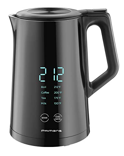 Smart Electric Kettle Variable Temperature Control - LED Display - Keep Warm - Hot Water Tea Coffee Kettles, Double Wall Cool Touch, Fast Boil, 100% Stainless Steel 304, 2-year Warranty, Black 120V